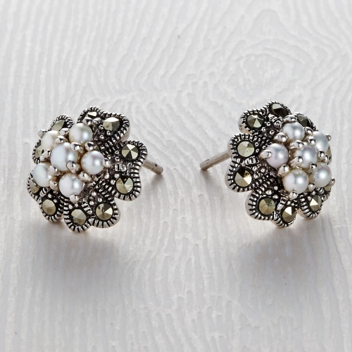 Freshwater Marcasite 6 Pearl Stud Earrings
