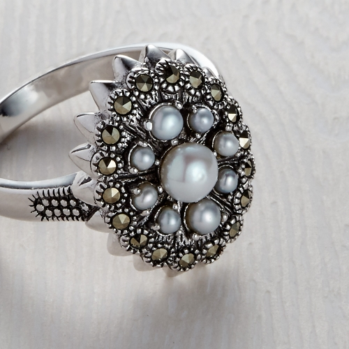 Freshwater Marcasite 9 Pearl Ring